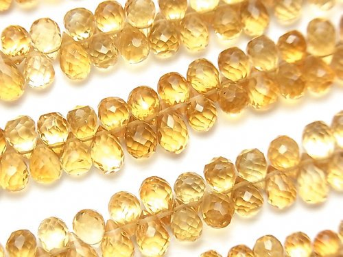 【動画】宝石質シトリンAAA ドロップ ブリオレットカット 半連/1連(約15cm)