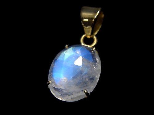 【動画】【1点もの】インド産宝石質レインボームーンストーンAAA カット入りペンダントトップ 18KGP製 NO.25