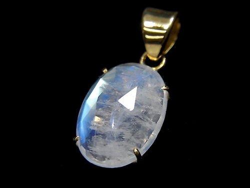 【動画】【1点もの】インド産宝石質レインボームーンストーンAAA カット入りペンダントトップ 18KGP製 NO.28