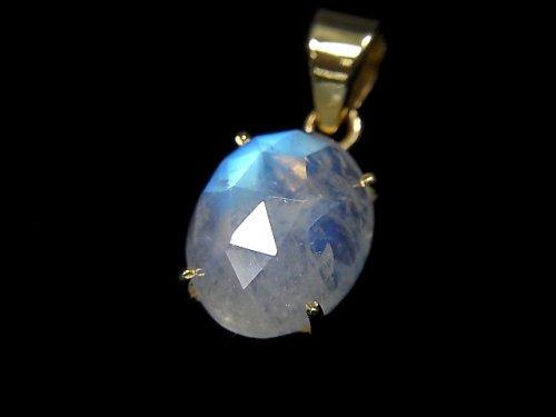 【動画】【1点もの】インド産宝石質レインボームーンストーンAAA カット入りペンダントトップ 18KGP製 NO.30