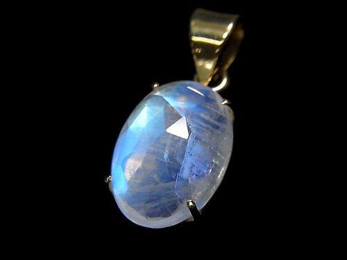 【動画】【1点もの】インド産宝石質レインボームーンストーンAAA カット入りペンダントトップ 18KGP製 NO.31