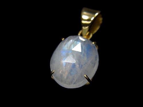 【動画】【1点もの】インド産宝石質レインボームーンストーンAAA カット入りペンダントトップ 18KGP製 NO.32