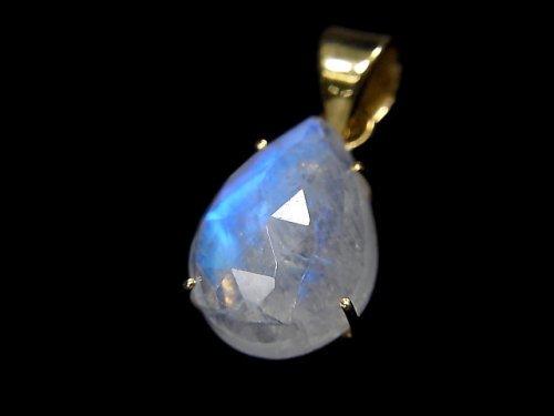 【動画】【1点もの】インド産宝石質レインボームーンストーンAAA カット入りペンダントトップ 18KGP製 NO.33