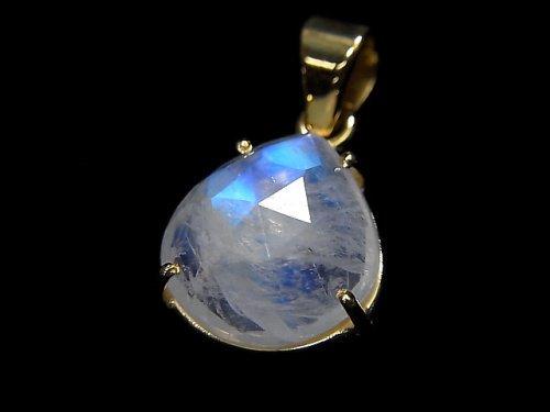 【動画】【1点もの】インド産宝石質レインボームーンストーンAAA カット入りペンダントトップ 18KGP製 NO.35