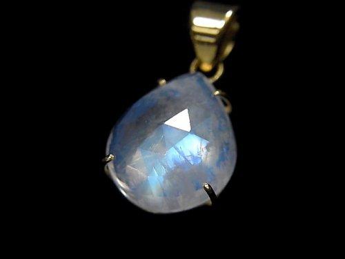 【動画】【1点もの】インド産宝石質レインボームーンストーンAAA カット入りペンダントトップ 18KGP製 NO.36