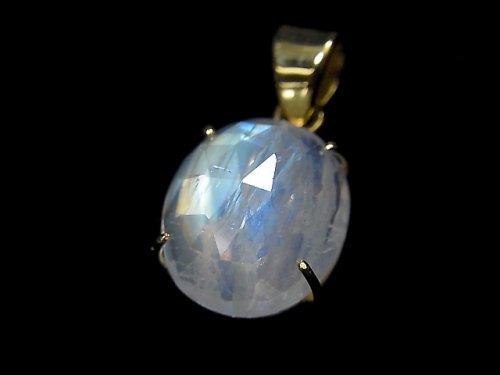 【動画】【1点もの】インド産宝石質レインボームーンストーンAAA カット入りペンダントトップ 18KGP製 NO.37