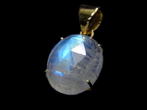 【動画】【1点もの】インド産宝石質レインボームーンストーンAAA カット入りペンダントトップ 18KGP製 NO.38