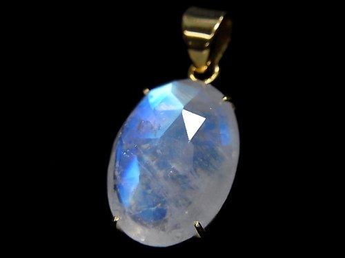 【動画】【1点もの】インド産宝石質レインボームーンストーンAAA カット入りペンダントトップ 18KGP製 NO.41