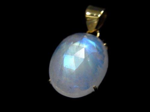 【動画】【1点もの】インド産宝石質レインボームーンストーンAAA カット入りペンダントトップ 18KGP製 NO.42
