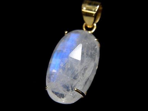 【動画】【1点もの】インド産宝石質レインボームーンストーンAAA カット入りペンダントトップ 18KGP製 NO.43