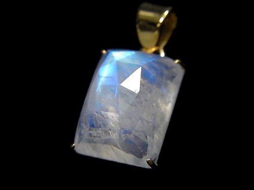 【動画】【1点もの】インド産宝石質レインボームーンストーンAAA カット入りペンダントトップ 18KGP製 NO.44