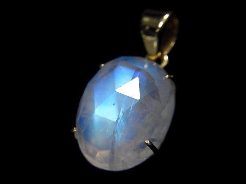【動画】【1点もの】インド産宝石質レインボームーンストーンAAA カット入りペンダントトップ 18KGP製 NO.45