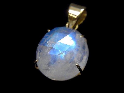 【動画】【1点もの】インド産宝石質レインボームーンストーンAAA カット入りペンダントトップ 18KGP製 NO.46
