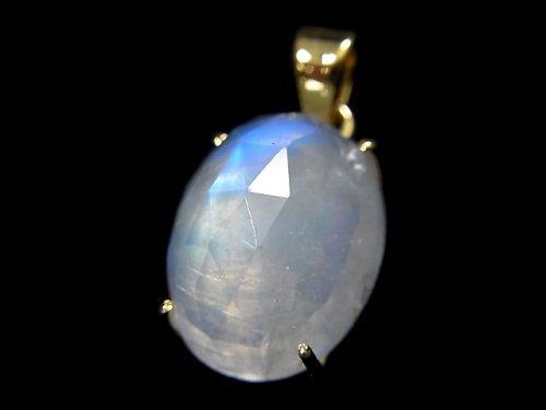 【動画】【1点もの】インド産宝石質レインボームーンストーンAAA カット入りペンダントトップ 18KGP製 NO.47