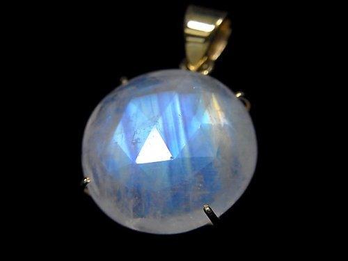 【動画】【1点もの】インド産宝石質レインボームーンストーンAAA カット入りペンダントトップ 18KGP製 NO.48