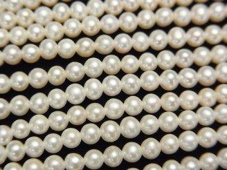 【動画】淡水真珠AAA セミラウンド3.5〜4mm ホワイト 1連(約38cm)