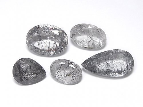 【動画】【1点もの】宝石質トルマリンクォーツAA++ 穴なしファセットカット 5粒セット NO.11