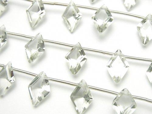 【動画】宝石質グリーンアメジストAAA ダイヤファセットカット11×7mm 1連(8粒)