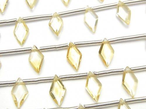 【動画】宝石質シトリンAAA ダイヤカット10×5mm 1連(8粒)