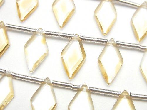 【動画】宝石質シトリンAAA ダイヤカット14×7mm 1連(8粒)