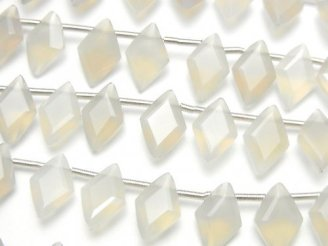 【動画】宝石質グレーオニキスAAA ダイヤファセットカット11×7mm 半連/1連(18粒)