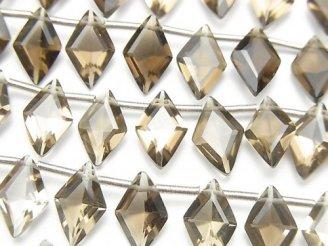 【動画】宝石質スモーキークォーツAAA ダイヤファセットカット11×7mm 半連/1連(18粒)