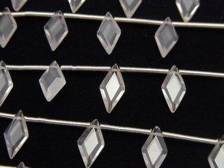 【動画】宝石質ローズクォーツAAA ダイヤカット10×5mm 1連(8粒)