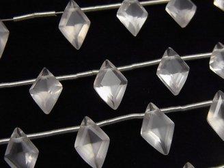 【動画】宝石質ローズクォーツAAA ダイヤファセットカット11×7mm 1連(8粒)