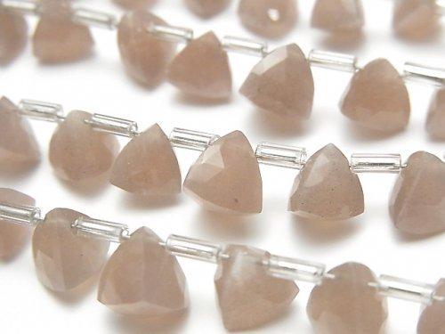 【動画】宝石質ブラウンムーンストーンAAA- 立体トライアングルカット 1連(約14cm)