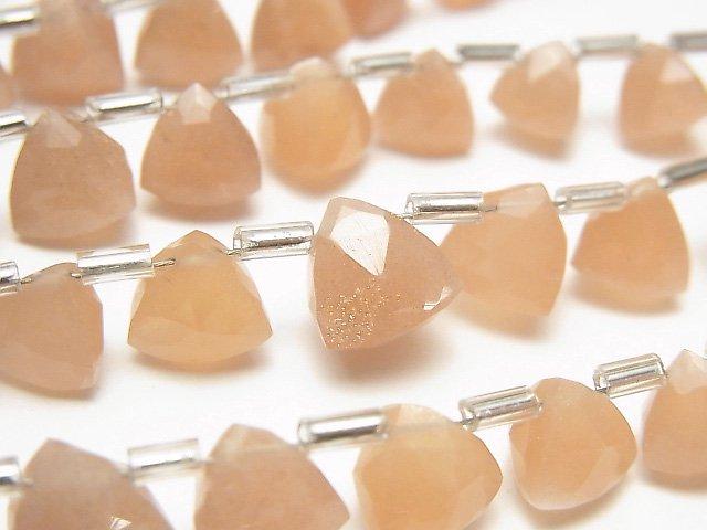 【動画】宝石質ピーチムーンストーンAAA- 立体トライアングルカット 1連(約14cm)