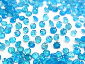 【動画】宝石質ネオンブルーアパタイトAAA 穴なしラウンドファセットカット3×3mm 10粒