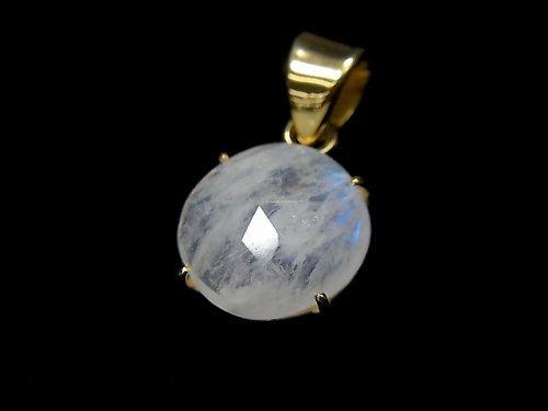 【動画】【1点もの】インド産宝石質レインボームーンストーンAAA カット入りペンダントトップ 18KGP製 NO.50