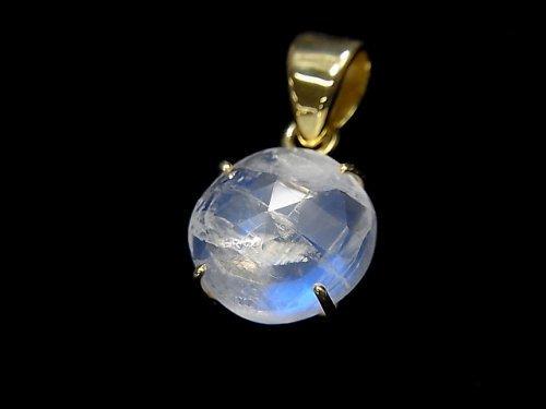 【動画】【1点もの】インド産宝石質レインボームーンストーンAAA カット入りペンダントトップ 18KGP製 NO.51