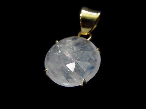 【動画】【1点もの】インド産宝石質レインボームーンストーンAAA カット入りペンダントトップ 18KGP製 NO.54