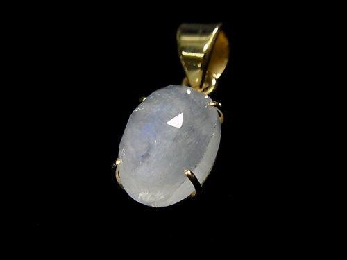 【動画】【1点もの】インド産宝石質レインボームーンストーンAAA カット入りペンダントトップ 18KGP製 NO.56