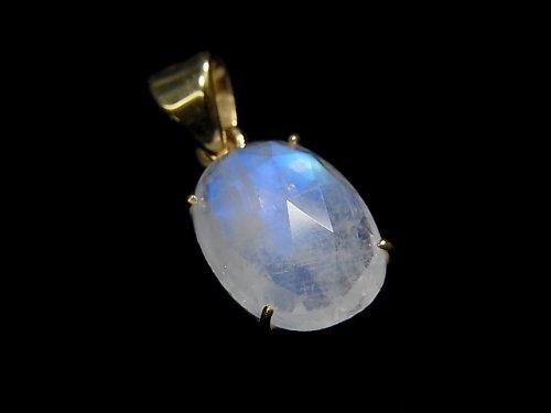 【動画】【1点もの】インド産宝石質レインボームーンストーンAAA カット入りペンダントトップ 18KGP製 NO.57