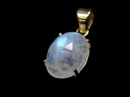 【動画】【1点もの】インド産宝石質レインボームーンストーンAAA カット入りペンダントトップ 18KGP製 NO.59