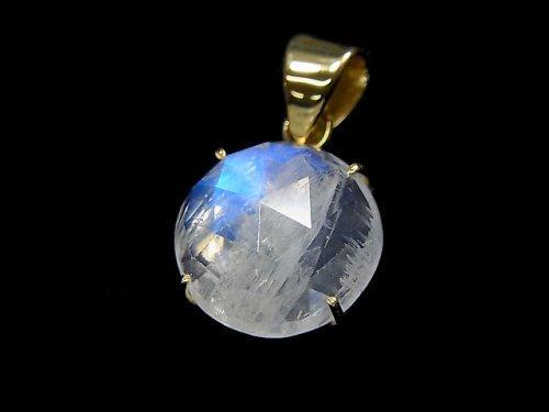 【動画】【1点もの】インド産宝石質レインボームーンストーンAAA カット入りペンダントトップ 18KGP製 NO.63