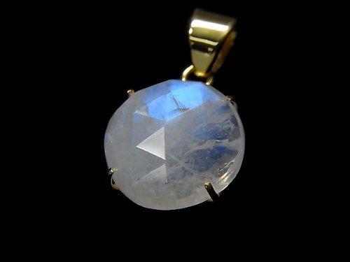 【動画】【1点もの】インド産宝石質レインボームーンストーンAAA カット入りペンダントトップ 18KGP製 NO.64