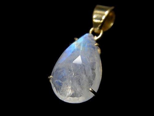 【動画】【1点もの】インド産宝石質レインボームーンストーンAAA カット入りペンダントトップ 18KGP製 NO.66