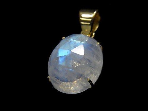 【動画】【1点もの】インド産宝石質レインボームーンストーンAAA カット入りペンダントトップ 18KGP製 NO.67