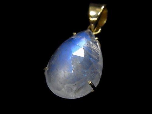 【動画】【1点もの】インド産宝石質レインボームーンストーンAAA カット入りペンダントトップ 18KGP製 NO.68