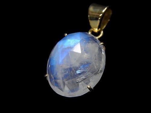 【動画】【1点もの】インド産宝石質レインボームーンストーンAAA カット入りペンダントトップ 18KGP製 NO.69