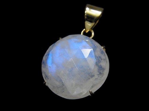 【動画】【1点もの】インド産宝石質レインボームーンストーンAAA カット入りペンダントトップ 18KGP製 NO.72