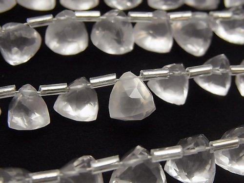 【動画】宝石質ローズクォーツAAA- 立体トライアングルカット 1連(約14cm)