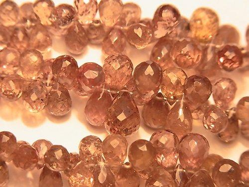 【動画】宝石質カラーチェンジガーネットAAA- ドロップ ブリオレットカット 半連/1連(約18cm)