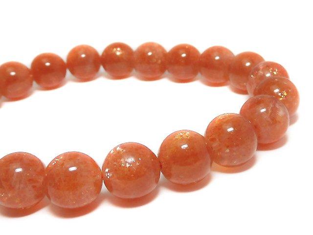 【動画】【1点もの】宝石質サンストーンAAA+ ラウンド9.5mm 1連(ブレス) NO.88