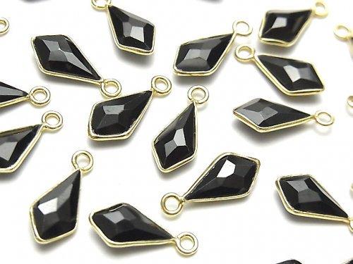 【動画】宝石質ブラックスピネルAAA 枠留め変形ダイヤカット12×6mm 18KGP 2個