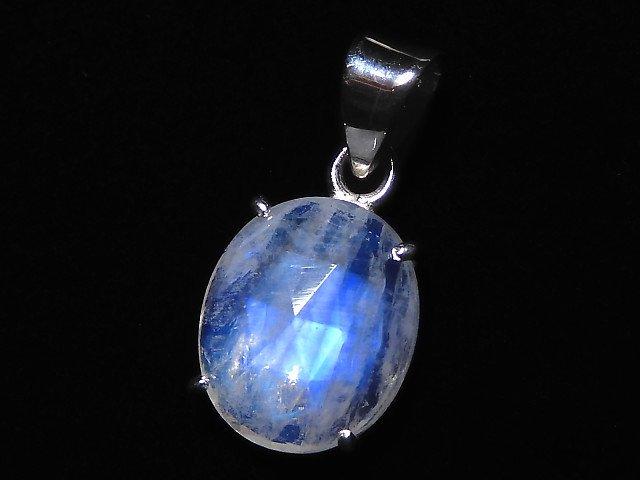 【動画】【1点もの】インド産宝石質レインボームーンストーンAAA カット入りペンダントトップ SILVER925製 NO.104
