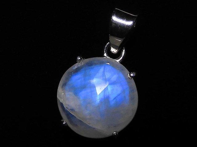 【動画】【1点もの】インド産宝石質レインボームーンストーンAAA カット入りペンダントトップ SILVER925製 NO.105